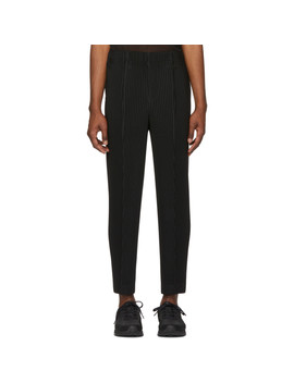 Black Tapered Tailored Trousers by Homme PlissÉ Issey Miyake