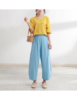 New Design Elastic Waist Cotton Pants Soft Loose Large Size Trousers Oversized Wide Leg Pant Customized Plus Size Pants Linen Boho by Etsy
