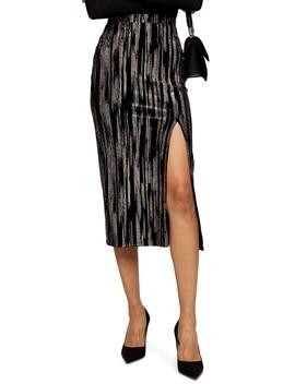 Velvet Glitter Midi Skirt by Topshop