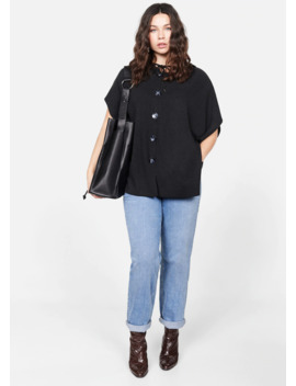 Buttoned Knit Poncho by Mango