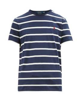 Logo Embroidered Striped Cotton Jersey T Shirt by Polo Ralph Lauren