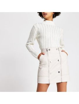Cream Quilted Faux Leather Mini Skirt by River Island