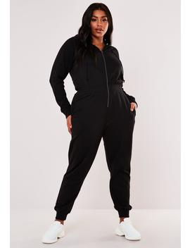 Plus Size Black Hooded Jogger Jumpsuit by Missguided