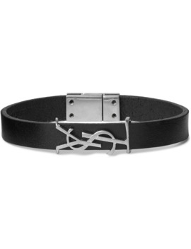 Logo Detailed Silver Tone And Leather Bracelet by Saint Laurent