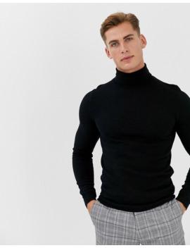 Jersey Negro De Cuello Vuelto Con Diseño Ajustado En Lana De Merino De Asos Design by Asos Design