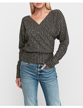 Ribbed Wrap Front Top by Express