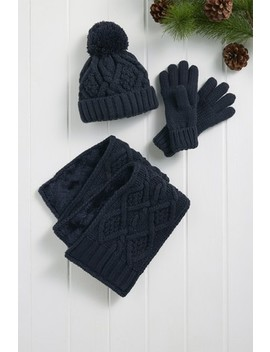 Navy Knitted Hat/Scarf/Gloves Set (Older) by Next