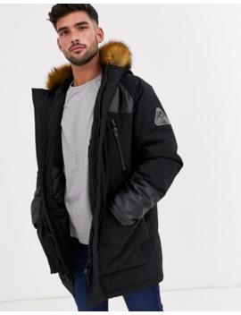 Topman Parka Jacket In Black With Faux Hood by Topman