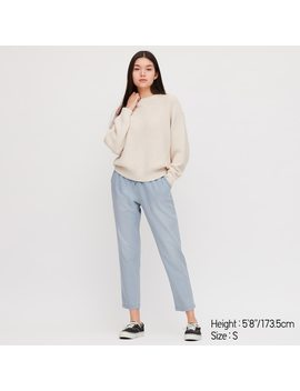 Women Denim Jersey Tapered Trousers by Uniqlo