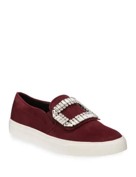 Karl Lagerfeld Paris Ermine Crystal Embellished Suede Slip On Sneakers by Karl Lagerfeld Paris