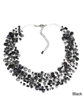 Handmade Classy Cascades Of Freshwater Pearls Necklace (Thailand)   Black by Aeravida