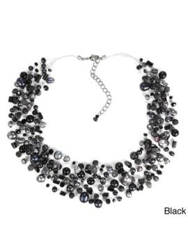 Handmade Classy Cascades Of Freshwater Pearls Necklace (Thailand)   Black by Aeravida