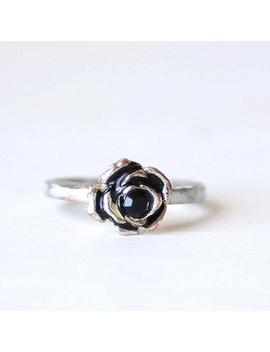 Dainty Vintage Black Rose Flower Everyday Ring // Size 7 // Everyday Silver Jewelry by Etsy