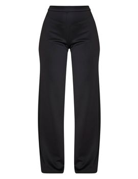 Black Scuba Wide Leg Trousers by Prettylittlething