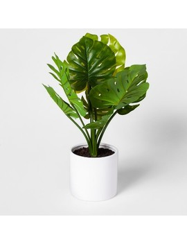 "21"" X 12"" Artificial Monstera Plant In Pot Green/White   Project 62™ by Shop Collections"