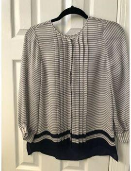 Women's Joie Blue & White Striped Scoop Neck Silk Blouse Size M by Joie