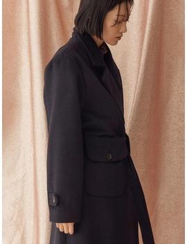 Woman Belted Pocket Coat Navy by Salon De Seoul