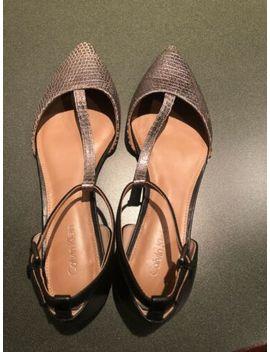 Calvin Klein Ghita T Strap Flats Metallic Pewter And Black Leather Euc by Calvin Klein