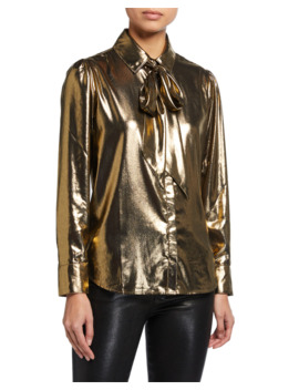 Patch Pocket Metallic Button Down Top by 7 For All Mankind