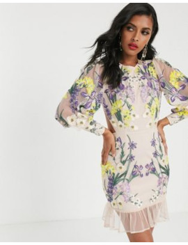 Asos Edition Blouson Sleeve Floral Embroidered Mini Dress by Asos Edition