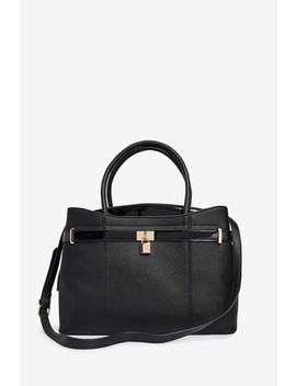Black Lock Detail Tote Bag With Compartment For Laptop by Next