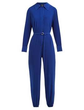 Point Collar Jersey Crepe Jumpsuit by Norma Kamali
