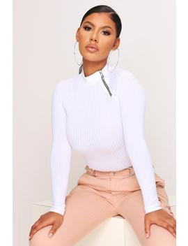 White High Neck Half Zip Ribbed Top by I Saw It First