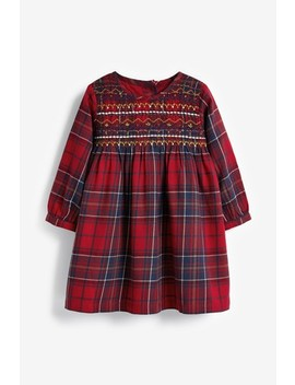 Red Check Shirred Dress (3mths 7yrs) by Next