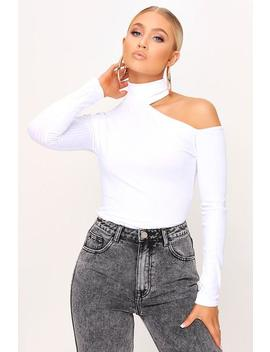 White Cut Out Shoulder Jumbo Rib Top by I Saw It First