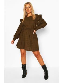Plus Grid Check Ruffle Skater Dress by Boohoo