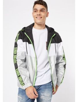 Silver Metallic Future Vibes Colorblock Zip Front Windbreaker by Rue21