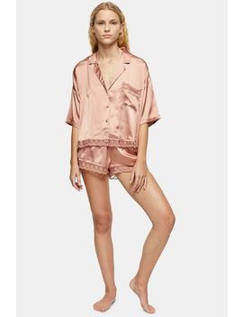 Mink Lace Trim Satin Pyjama Set by Topshop