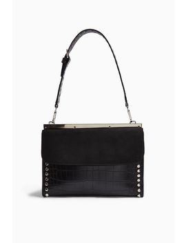 Retro Black Studded Shoulder Bag by Topshop