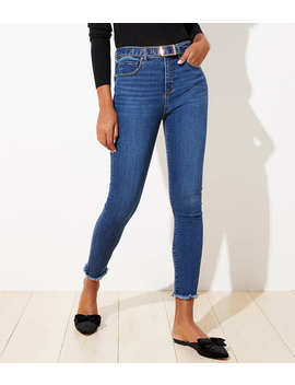 Petite Belted High Rise Slim Pocket Skinny Jeans In Rich Mid Indigo Wash by Loft