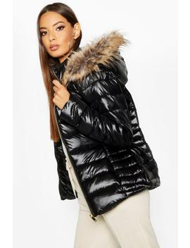 Faux Fur Trim Quilted Puffer by Boohoo