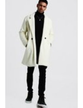 Faux Fur Double Breasted Overcoat by Boohoo Man