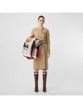 Lambskin Trim Technical Wool Belted Dress by Burberry