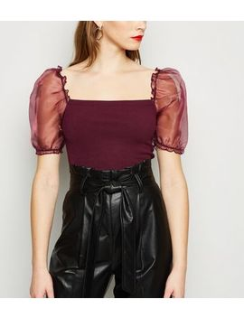 Burgundy Puff Organza Sleeve Top by New Look