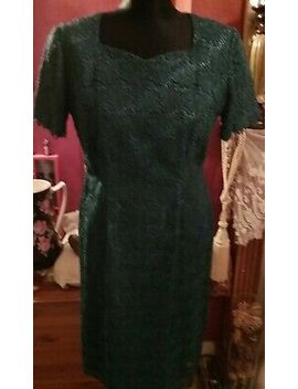 1940s Walgar, London Teal Floral Lace Wiggle Dress by Ebay Seller
