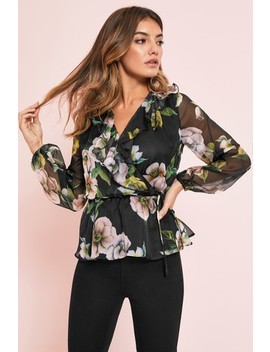 Lipsy Floral Print Ruffle Top by Next