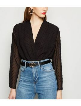 Black Textured Spot Wrap Bodysuit by New Look