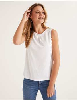 Frill Jersey Vest   White by Boden