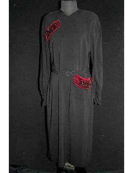 "Rare 1940's Black Crepe ""Olga Original"" Designer Dress Beaded Red Velvet Sz 10+ by Ebay Seller"