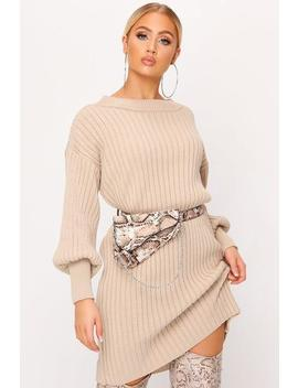 Stone Ballon Sleeve Rib Knitted Jumper Dress by I Saw It First