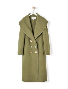 Double Breasted Coat       Khaki Green by Loewe