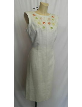40/50s 'jamison' Original White Textured Linen Dress With Sequin Design by Ebay Seller