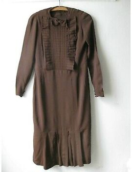 Vtg 1930s 1940s Deco Brown Crepe Long Slv Dress W/ Pleated Bib Front &Amp; Bow. 8 10 by Ebay Seller