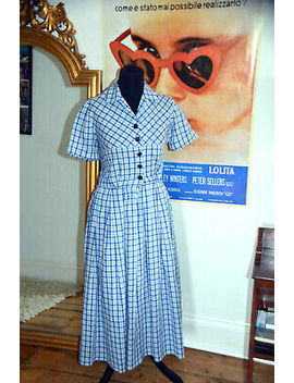 1940's War Bride Dress Ww11 Sun Dress Check Blue White Gingham Vintage Dress by Ebay Seller
