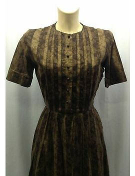 40s 'caron Lane' Original Chocolate &Amp; Coffee Dress With Striped Abstract Floral by Ebay Seller