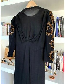 Show Stopping Vintage Black Gown Sequin Sleeve In Gold 1940s Stunning   Size 10 by Ebay Seller
